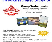 Photographer wanted at @campwahanowin | Capture the Magic of Summer Camp