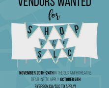 Shop the SLC is looking for Ryerson vendors | #RSLC | Apply by Oct 6