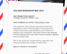 Iceland Workshop May 2018 | Information Night | Jan 25 at 6pm