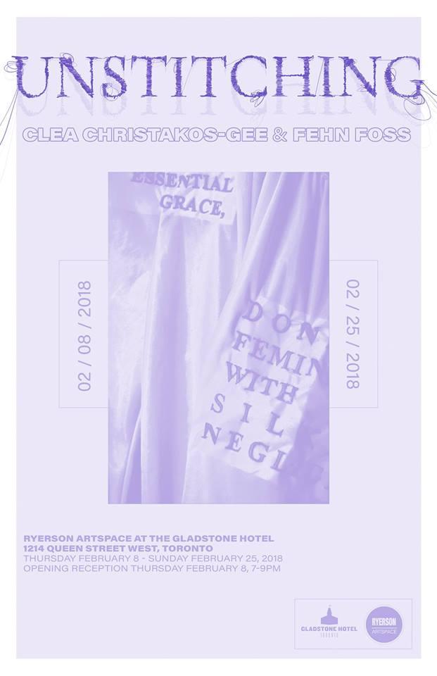 Unstitching at Ryerson Artspace poster